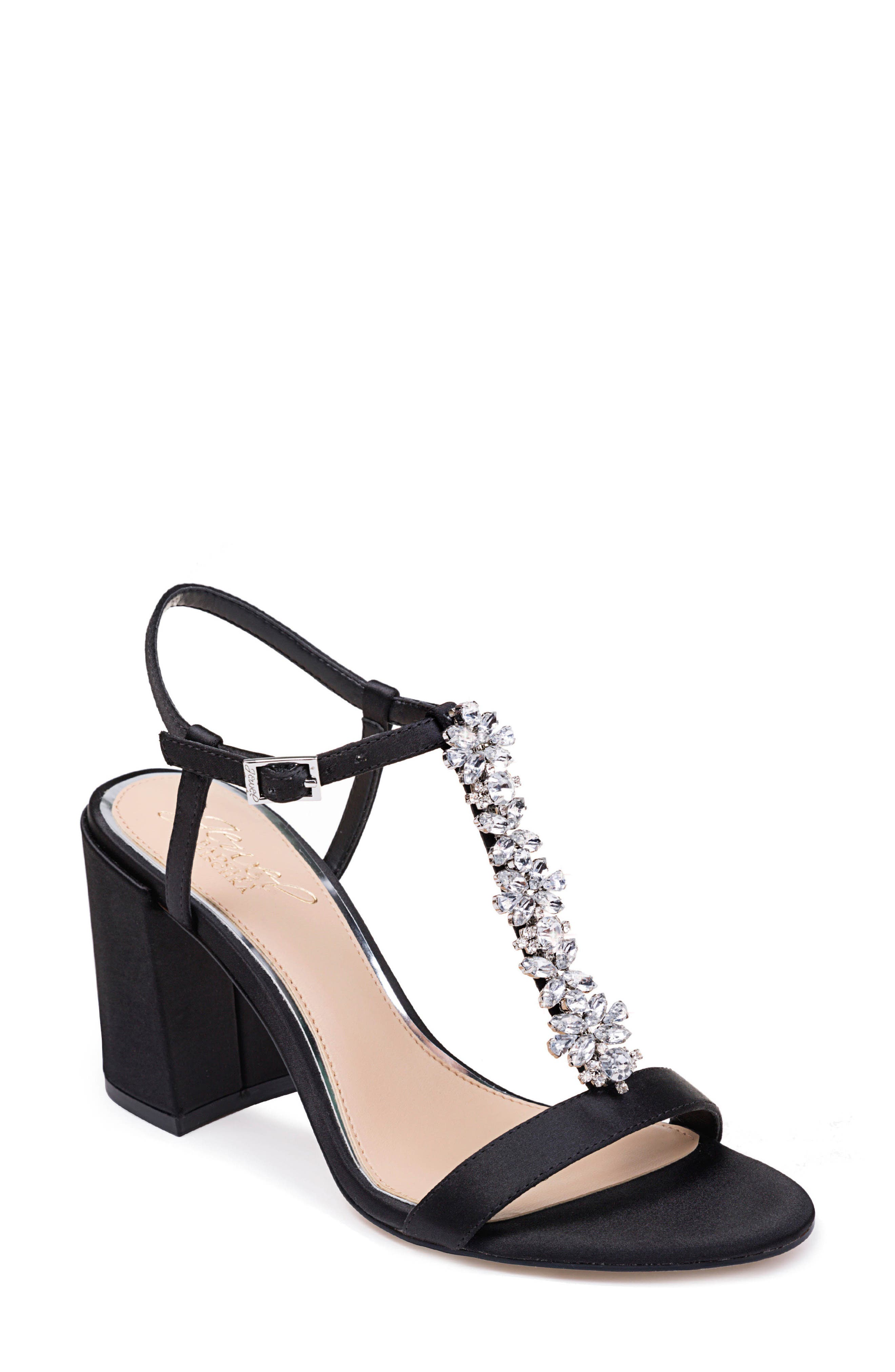 Image of Jewel Badgley Mischka Raina Embellished T-Strap Block Heel Sandal