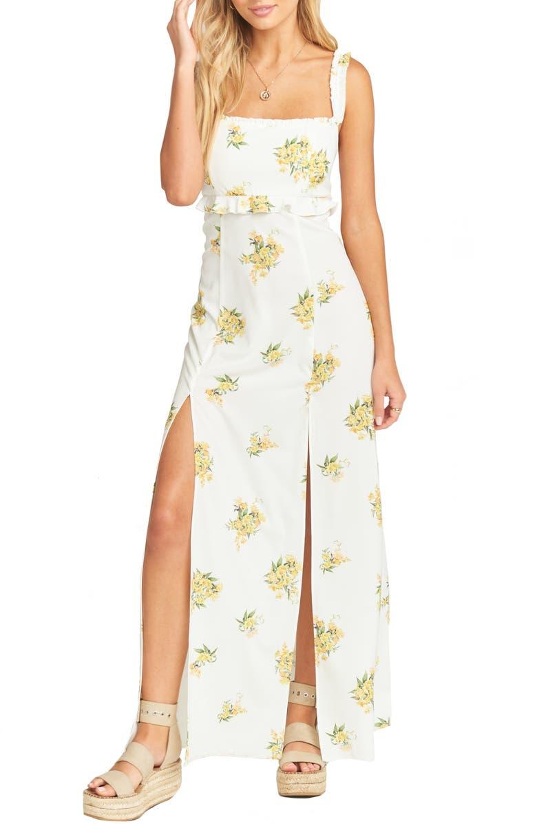 SHOW ME YOUR MUMU Bristol Floral Side Slit Maxi Dress, Main, color, 100