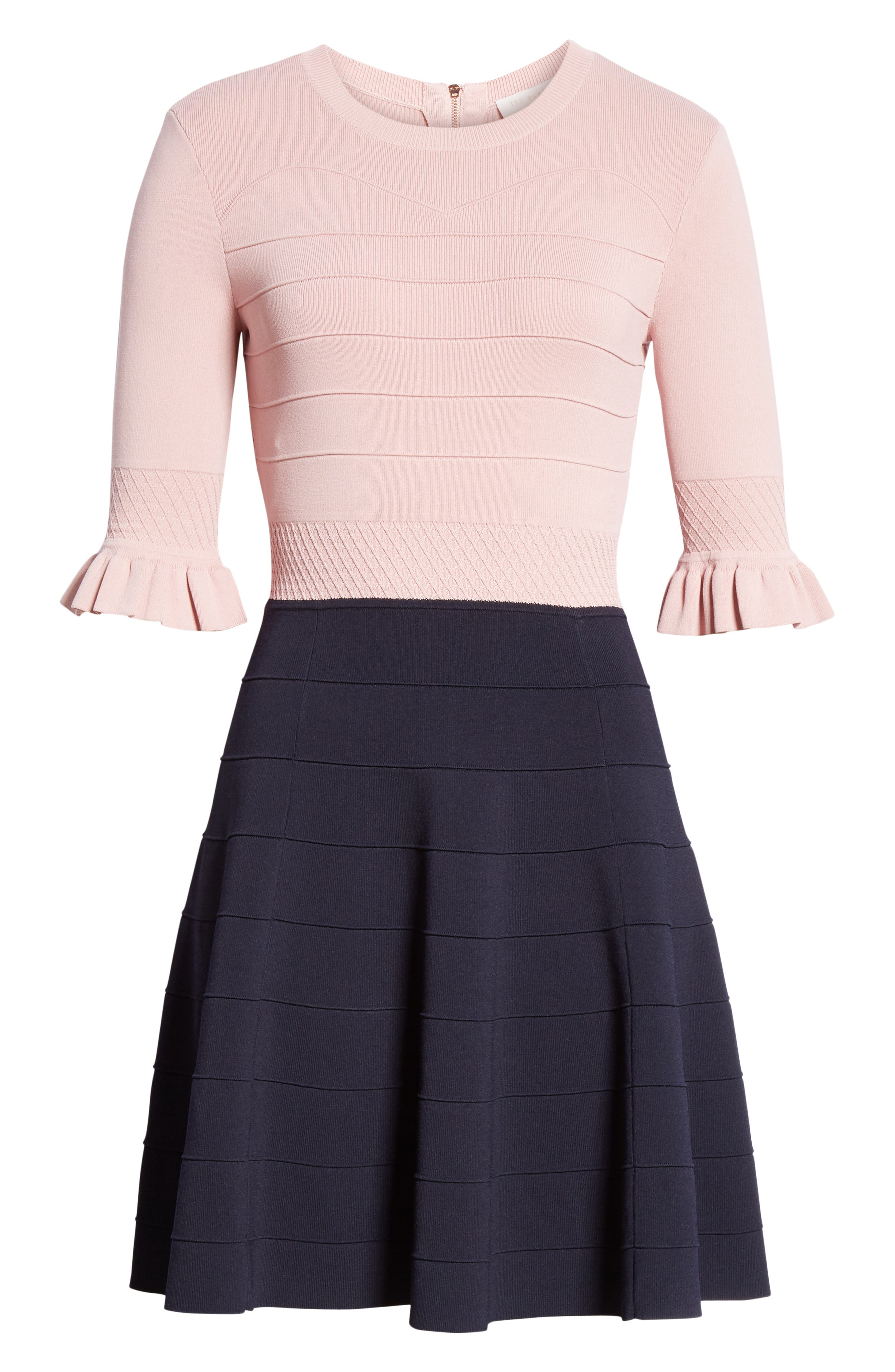 ,                             Dyana Frilled Knit Minidress,                             Alternate thumbnail 7, color,                             DUSKY PINK