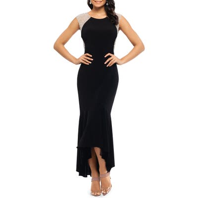 Plus Size Xscape Caviar Bead High/low Gown, Black
