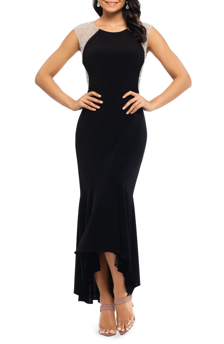 XSCAPE Caviar Bead High/Low Gown, Main, color, BLACK/ NUDE/ SILVER