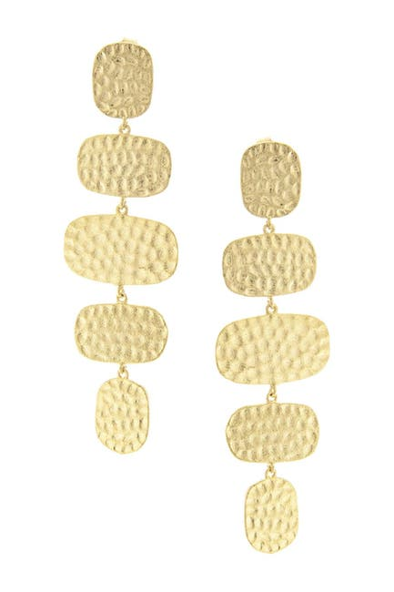 Image of Rivka Friedman 18K Yellow Gold Clad Hammered Drop Earrings