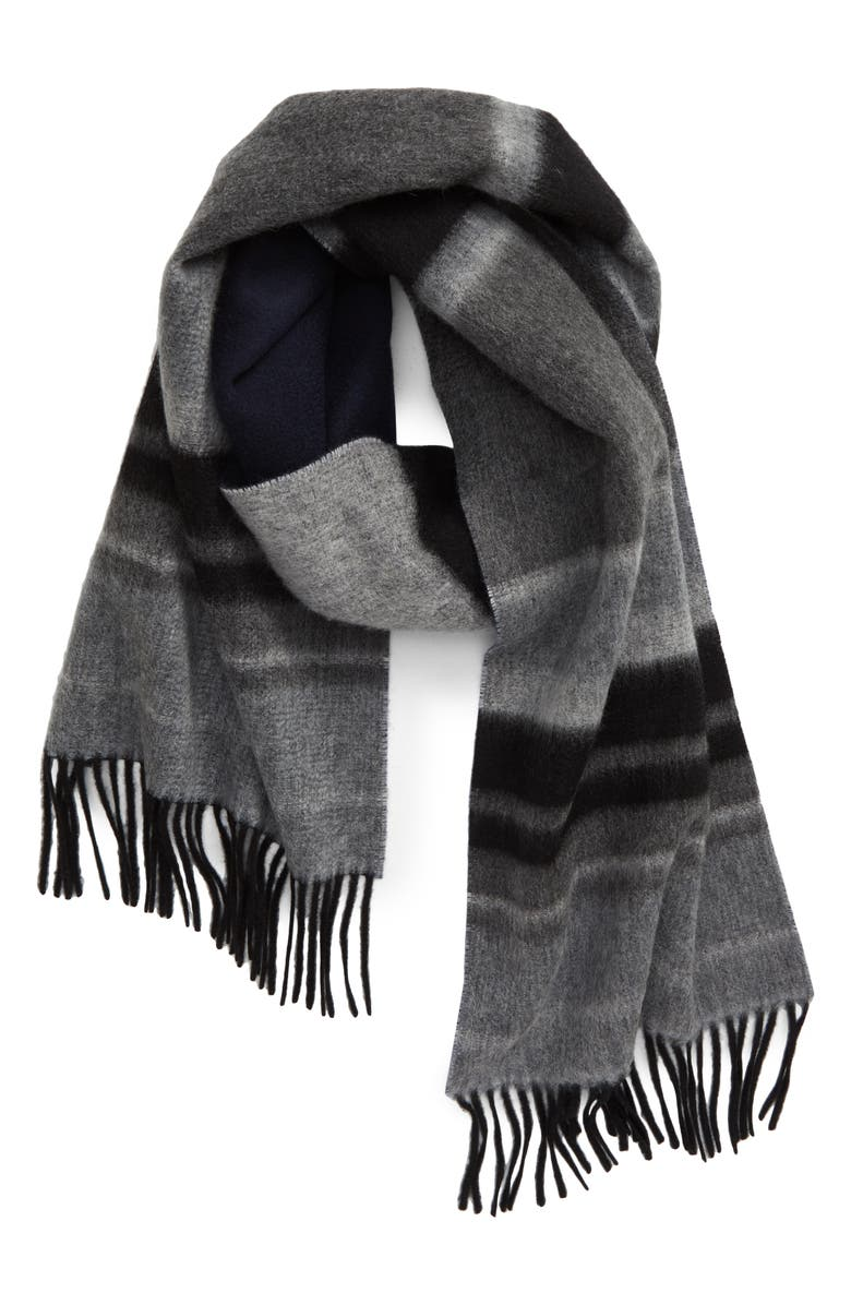 ANDREW STEWART Stripe Double Face Cashmere Scarf, Main, color, BLACK