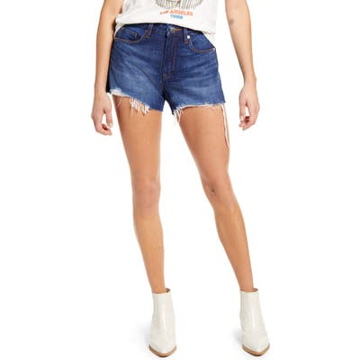 Blanknyc The Barrow Distressed High Waist Denim Shorts, Blue