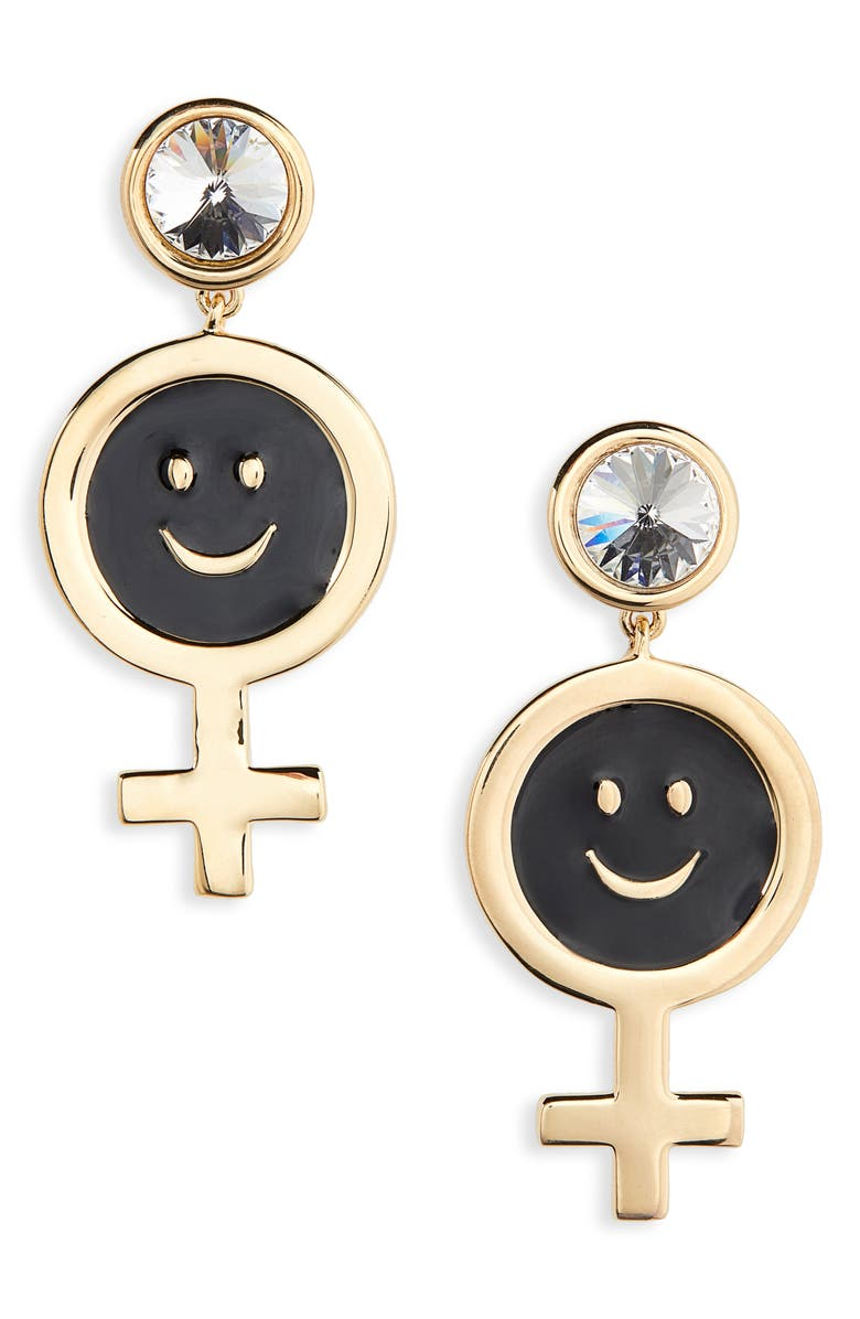JIWINAIA Mini Female Smiley Earrings, Main, color, BLACK AND GOLD