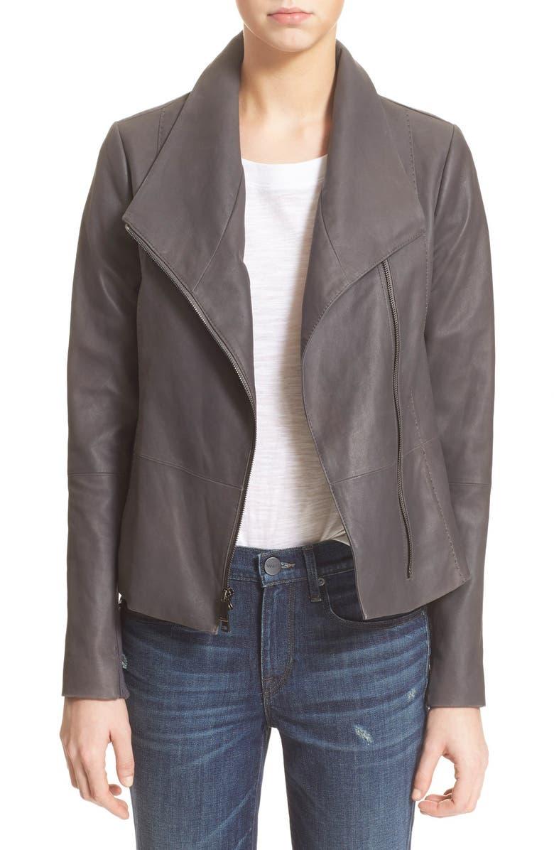 VINCE Leather Scuba Jacket, Main, color, 096
