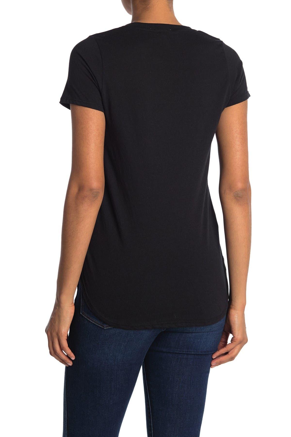 Image of We My People V-Neck Curved Hem Tunic T-Shirt
