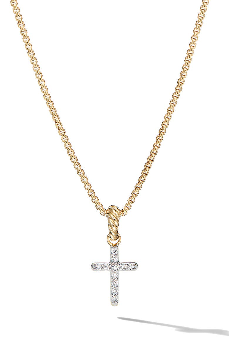DAVID YURMAN Cable Collectibles<sup>®</sup> 18K Yellow Gold Cross Pendant with Diamonds, Main, color, DIAMOND