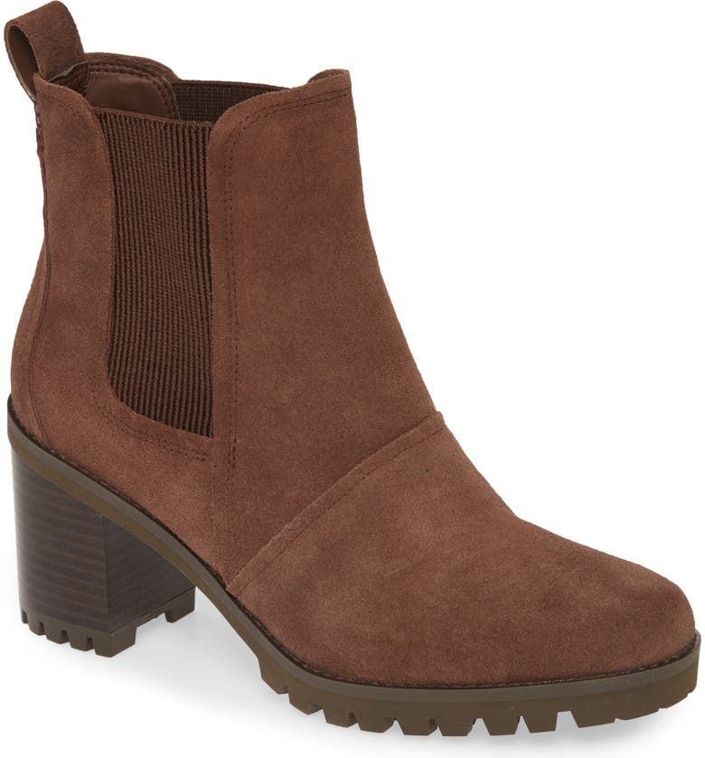 UGG<SUP>®</SUP> Hazel Waterproof Block Heel Bootie, Main, color, PINEWOOD SUEDE