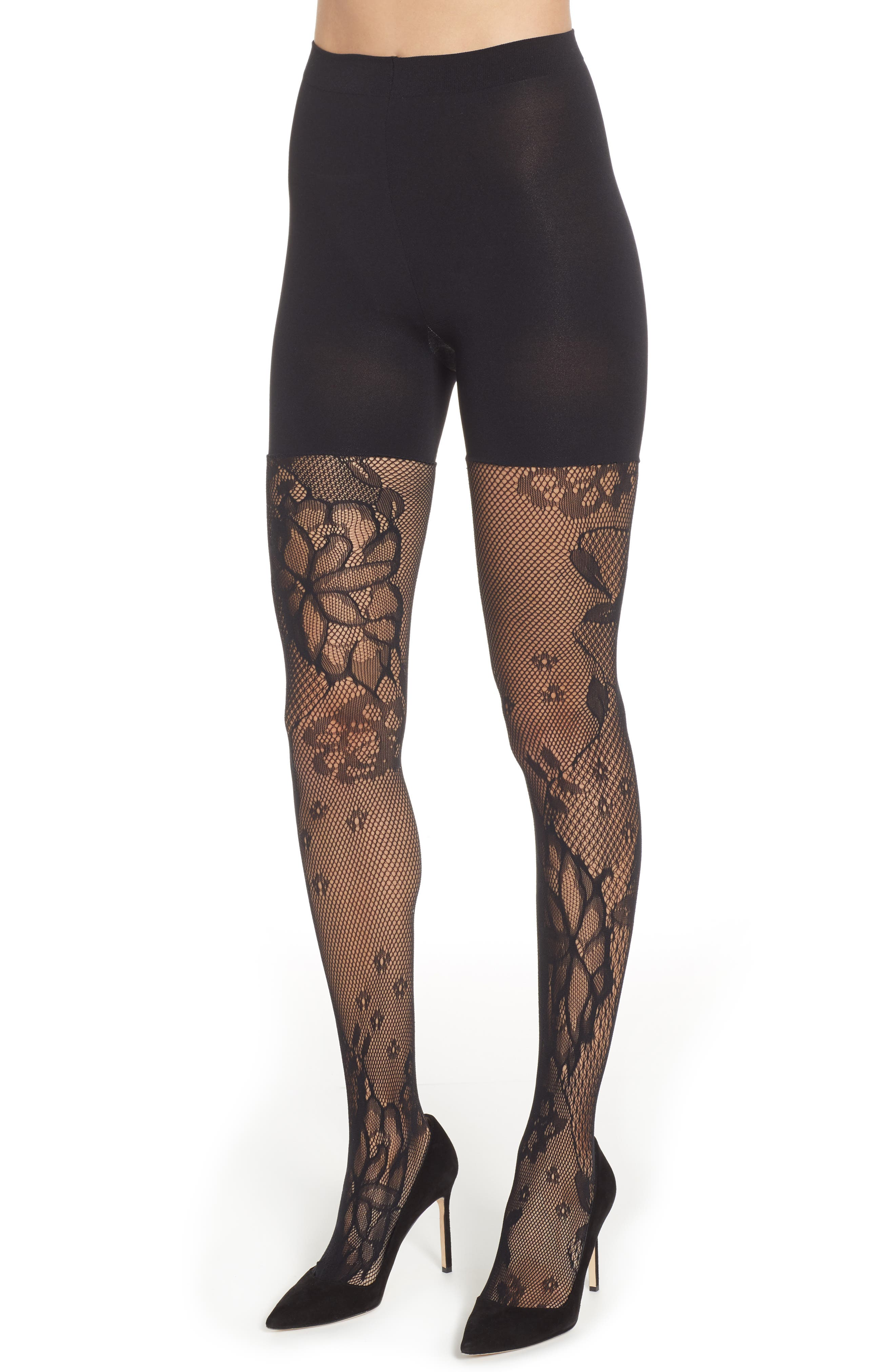 Image of SPANX Fishnet Floral Shaping Tights