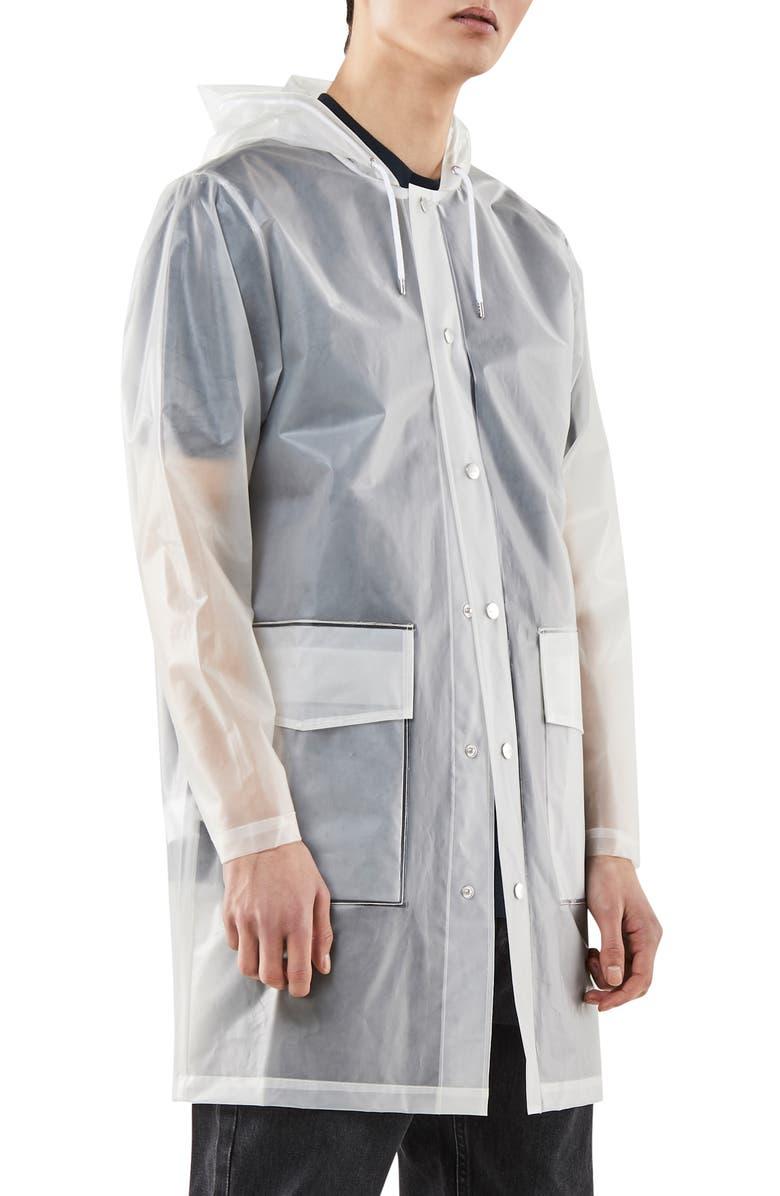 RAINS Waterproof Hooded Raincoat, Main, color, FOGGY WHITE