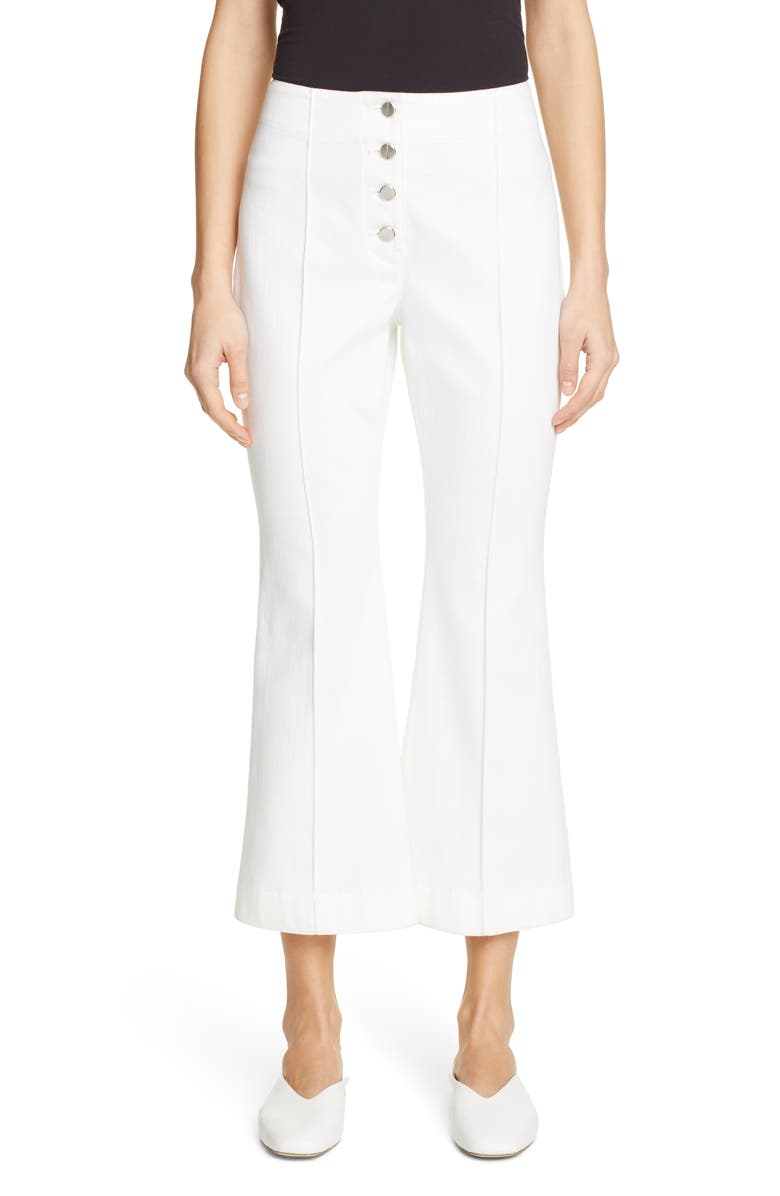 ROSETTA GETTY Crop Flare Jeans, Main, color, WHITE