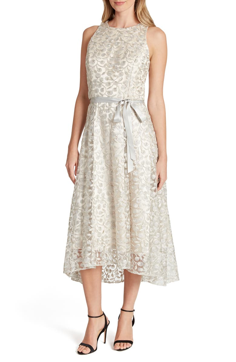 TAHARI Embroidered Lace Midi Dress, Main, color, TAUPE SILVER