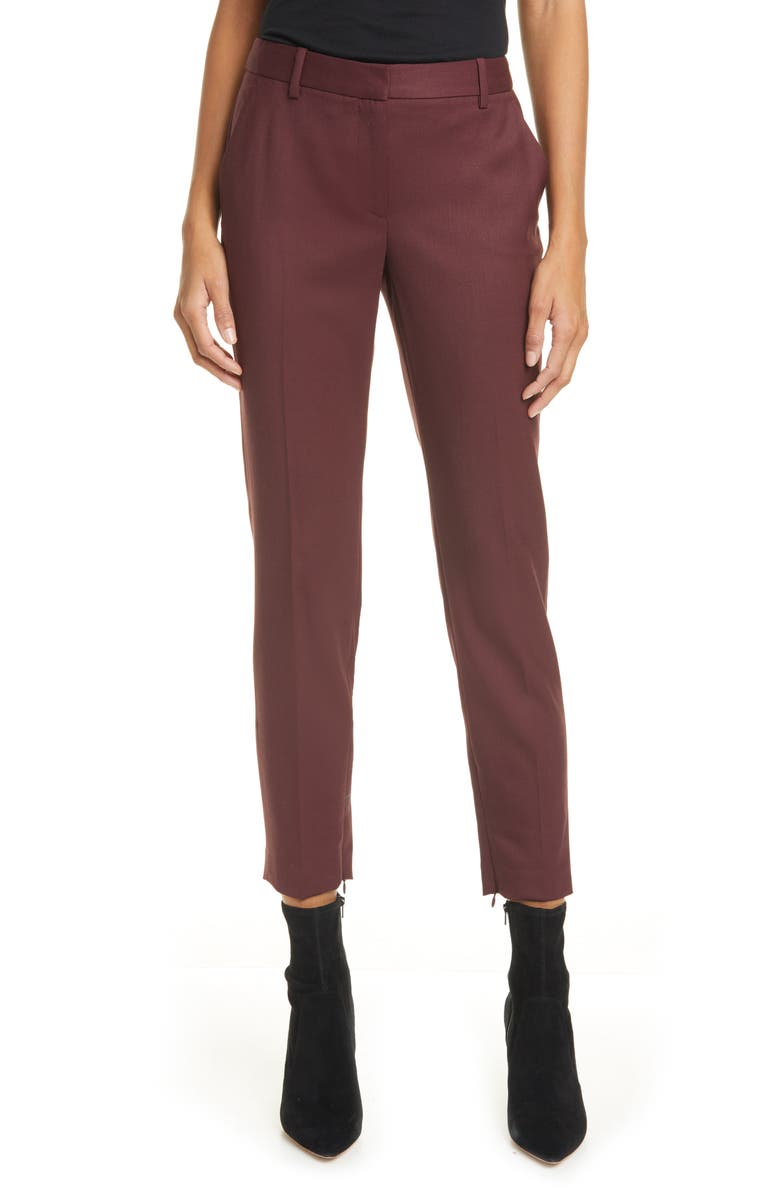 NILI LOTAN Leo Slim Stretch Wool Pants, Main, color, BURGUNDY