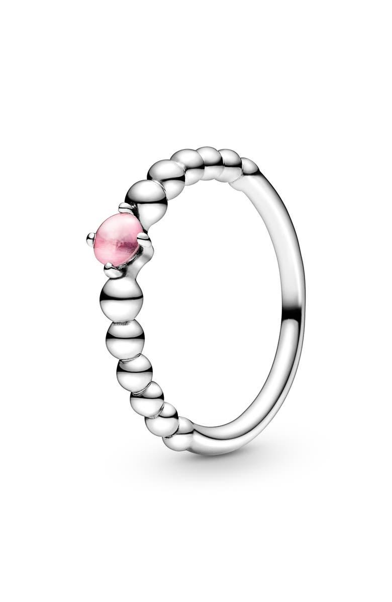 PANDORA Petal Pink Beaded Stacking Ring, Main, color, SILVER/TREAT PETAL PNK TOPAZ