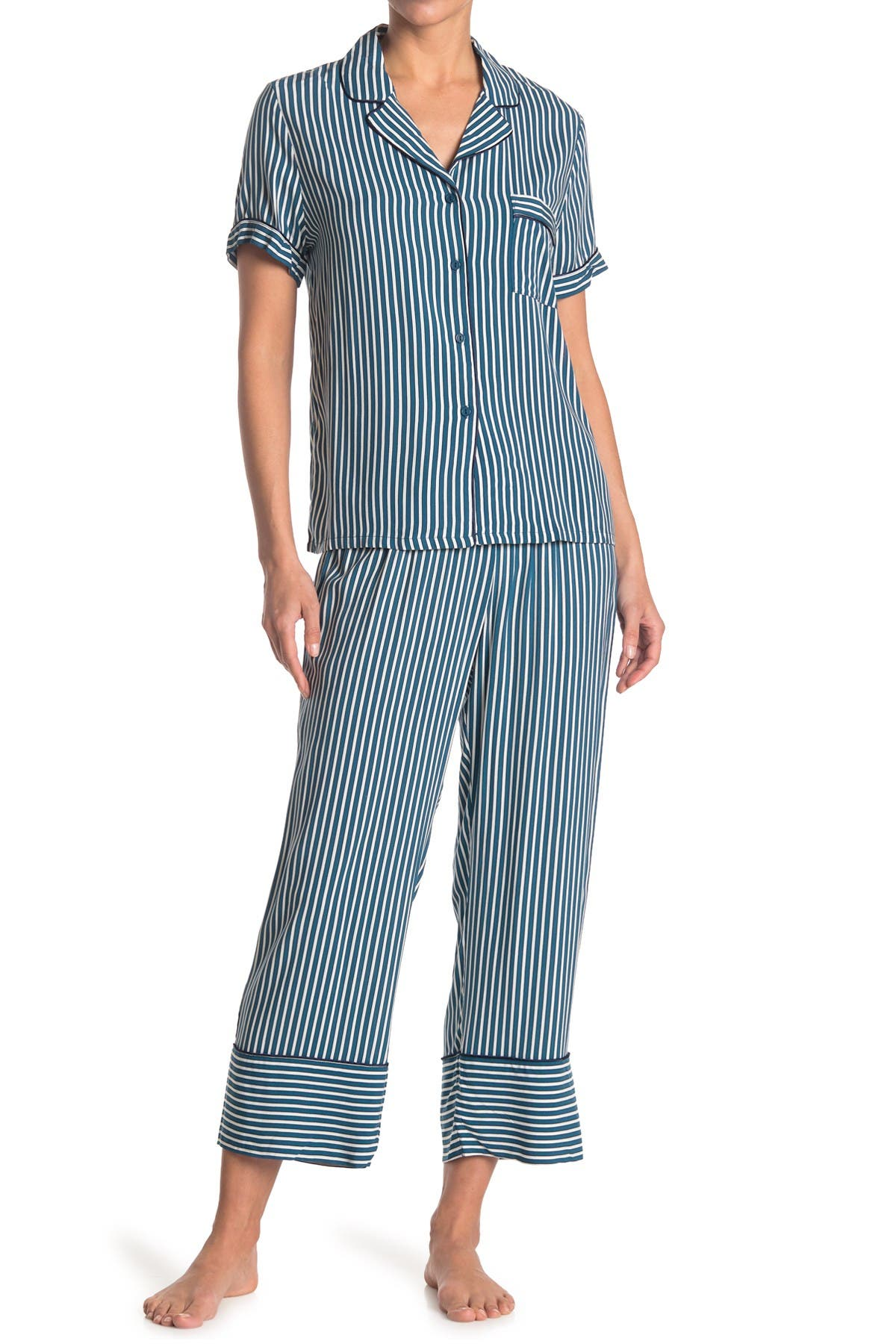 Image of In Bloom by Jonquil Striped Short Sleeve Top & Pants 2-Piece Pajama Set