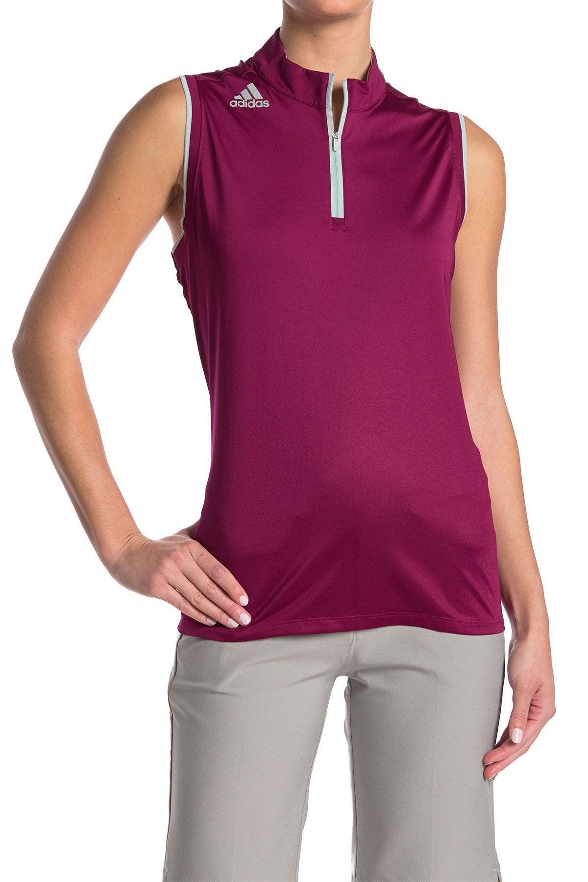 Image of Adidas Golf Gradient Quarter Zip Sleeveless Polo Shirt