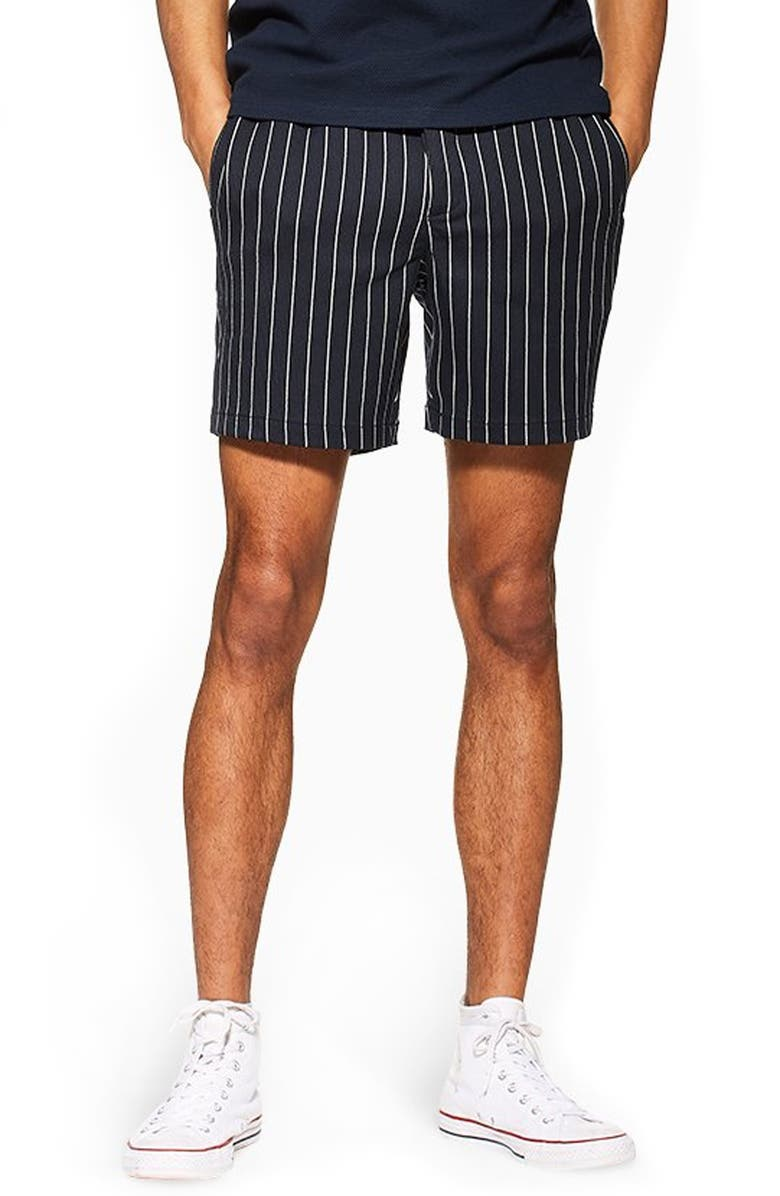 TOPMAN Pinstripe Shorts, Main, color, NAVY BLUE