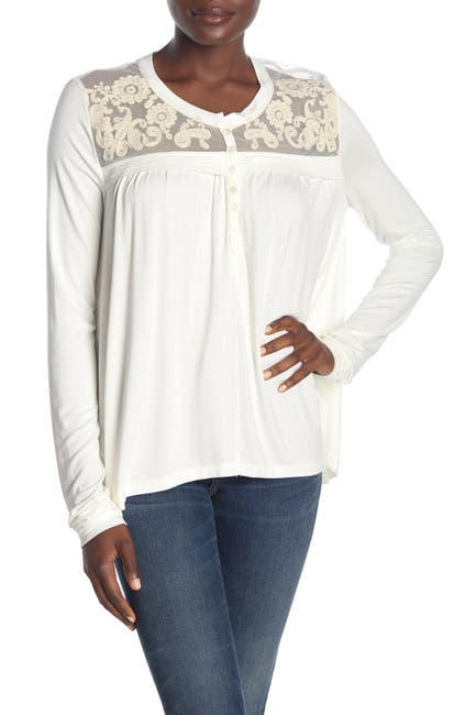 Image of Forgotten Grace Embroidered Mesh Trim Front Button Blouse