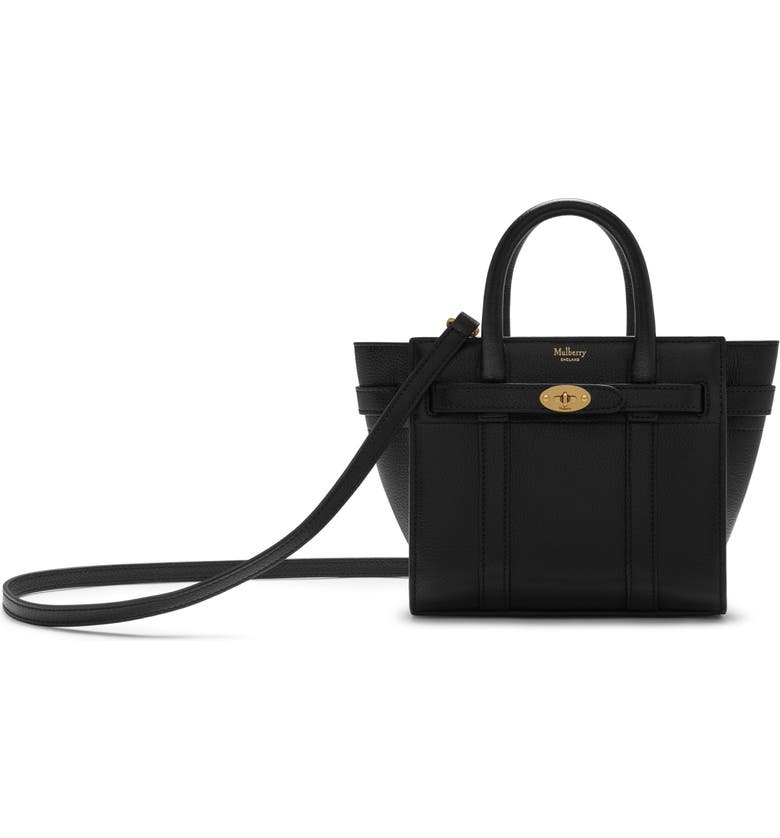 MULBERRY Micro Bayswater Leather Satchel, Main, color, 001