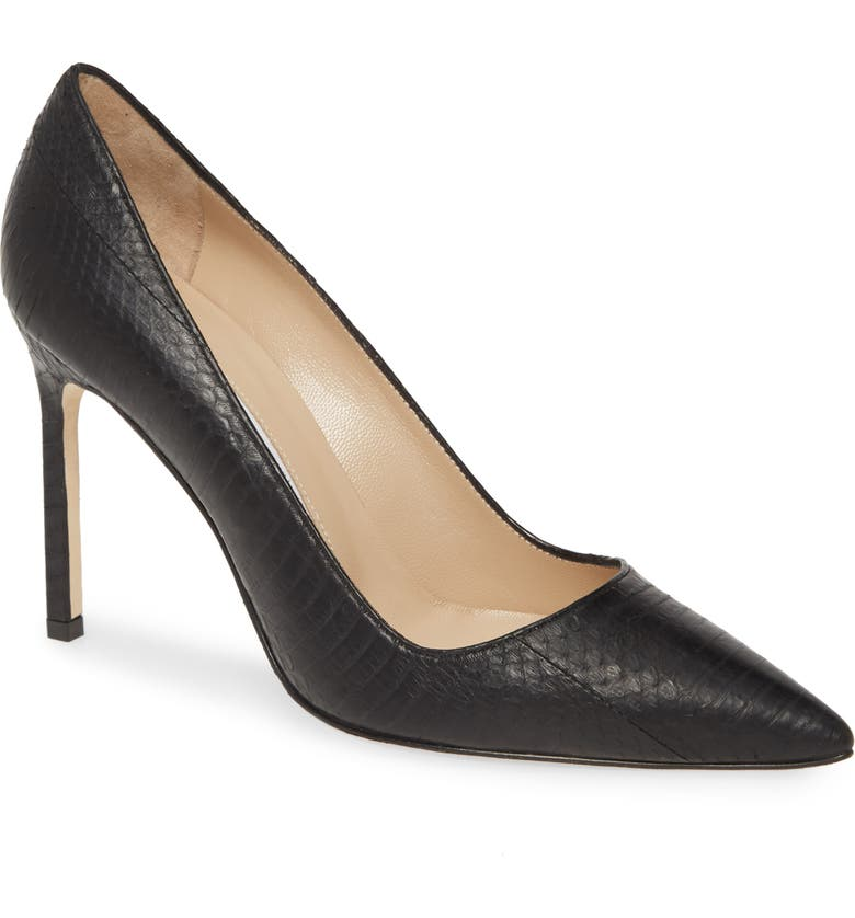 MANOLO BLAHNIK 'BB' Genuine Python Pointy Toe Pump, Main, color, BLACK MATTE WATER SNAKE