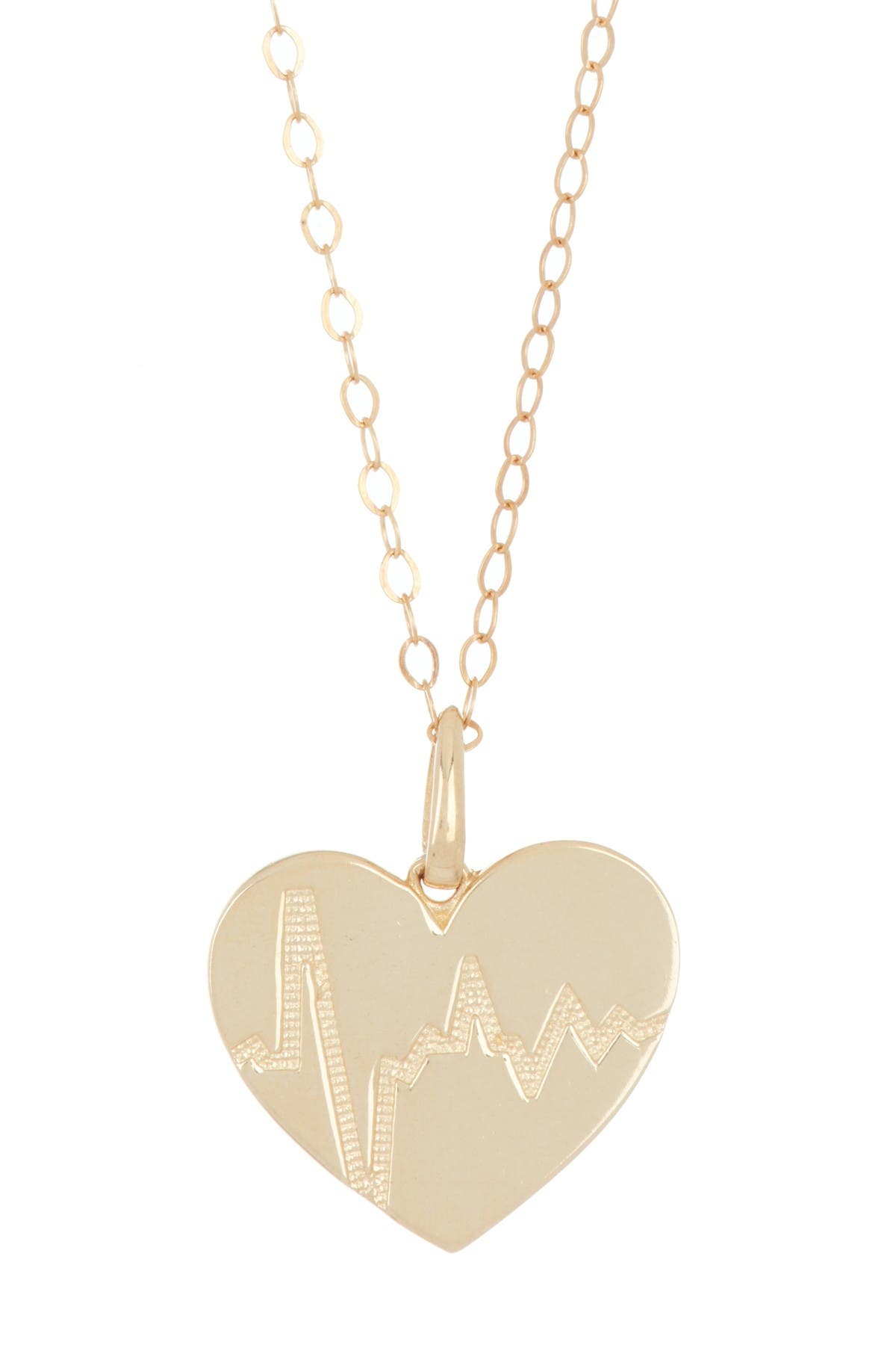Image of Candela 10K Yellow Gold Heartbeat Pendant with Gold Filled Chain