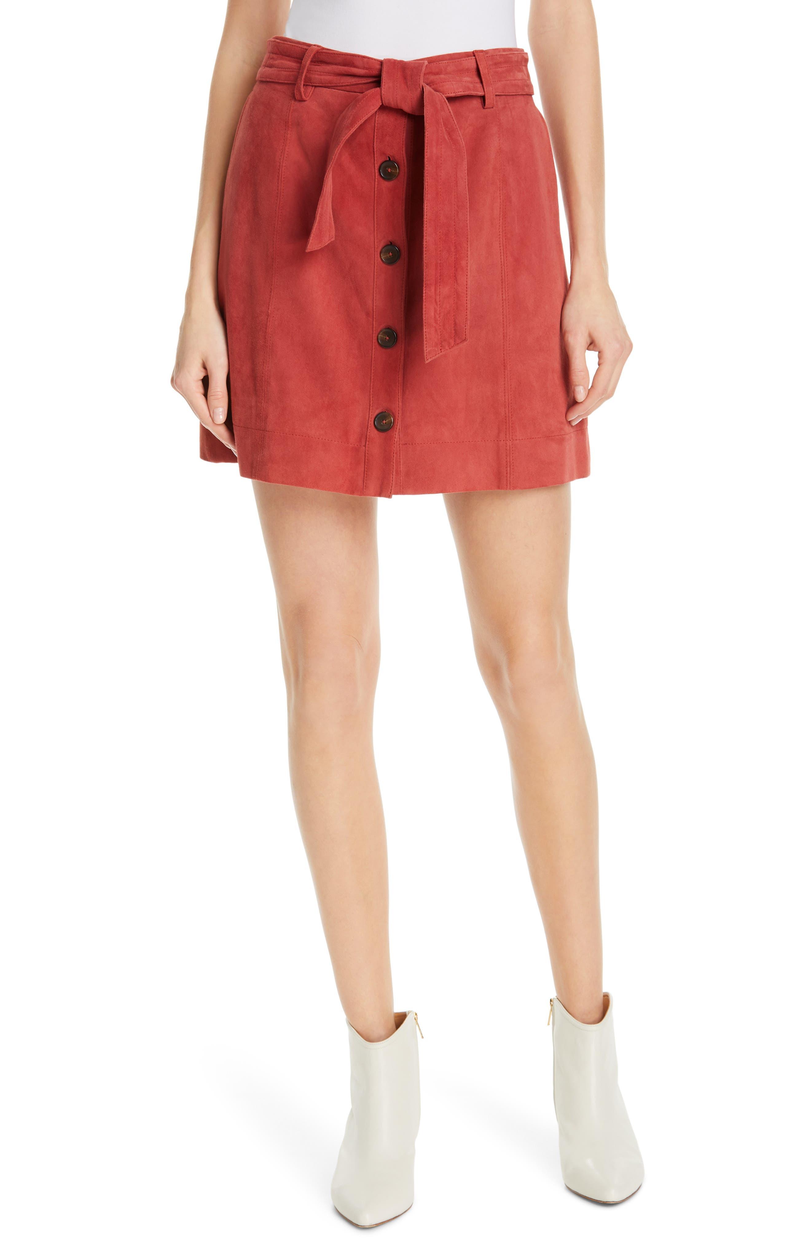,                             Neida Suede Miniskirt,                             Main thumbnail 1, color,                             600