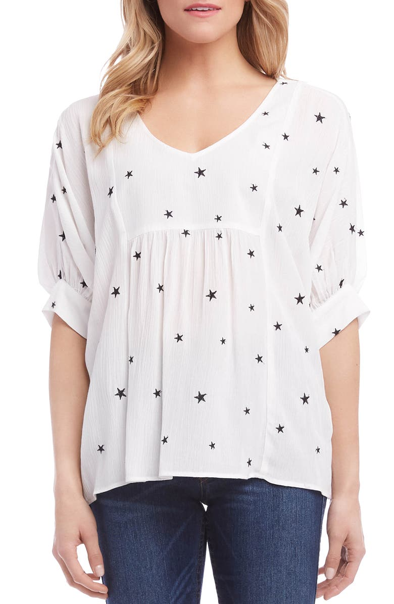 KAREN KANE Embroidered Star Top, Main, color, OFF WHITE