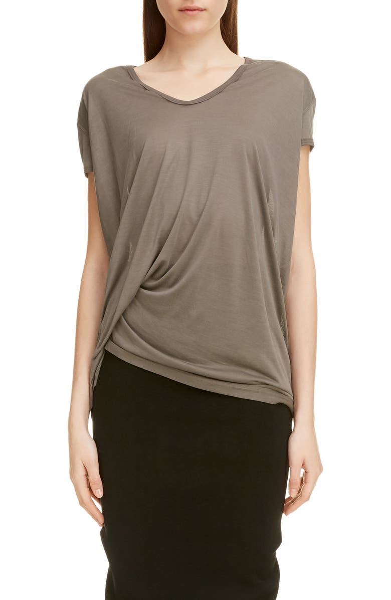 RICK OWENS Side Drape Silk Tee, Main, color, DUST