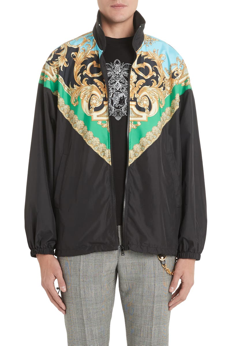 VERSACE Baroque Trench Jacket, Main, color, GREEN/LIGHT BLUE