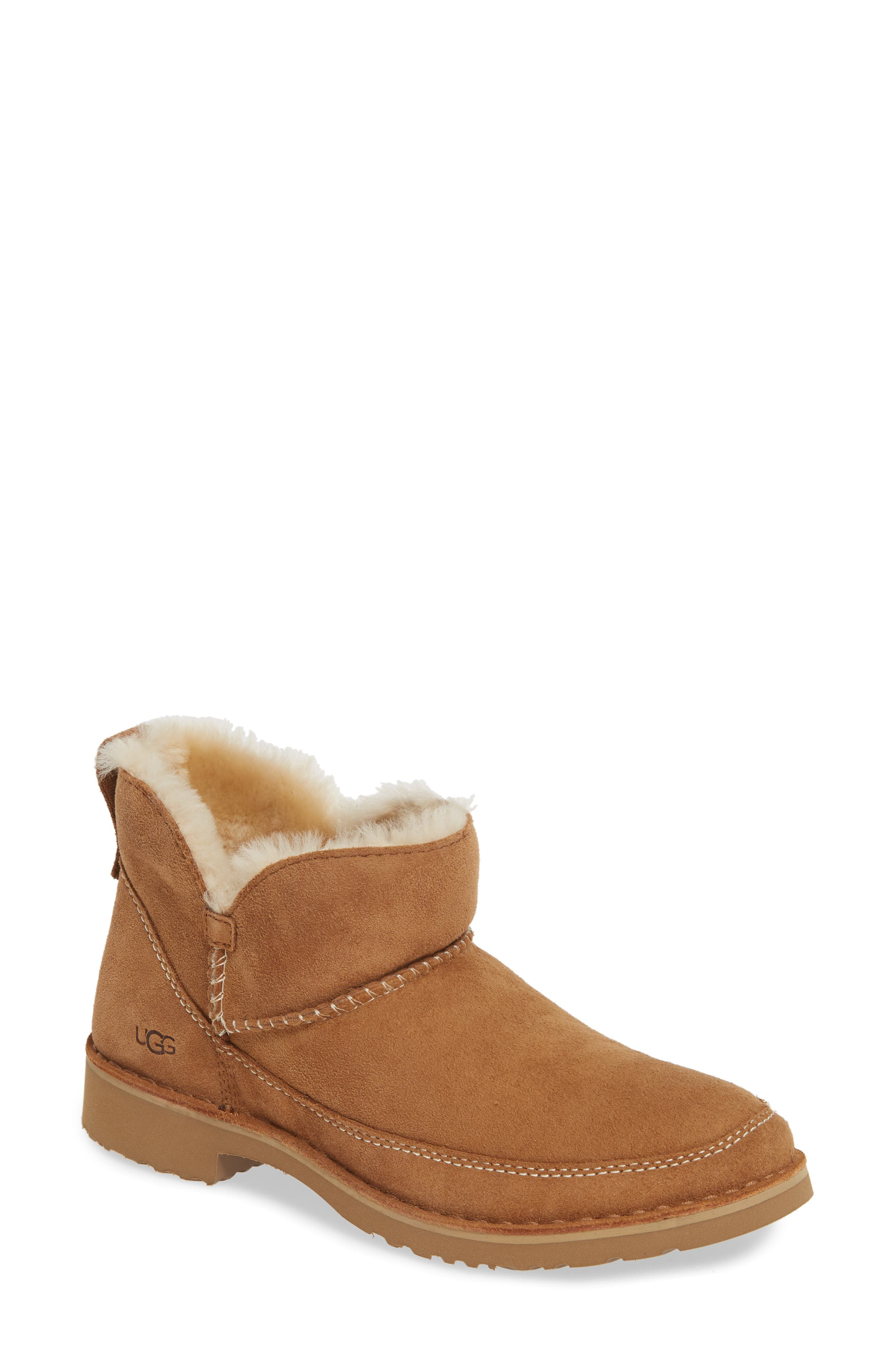 UGG® Melrose Genuine Shearling Bootie (Women)