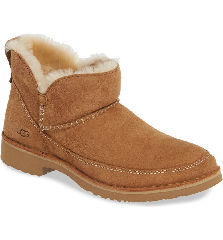 UGG<SUP>®</SUP> Melrose Genuine Shearling Bootie, Main, color, CHESTNUT