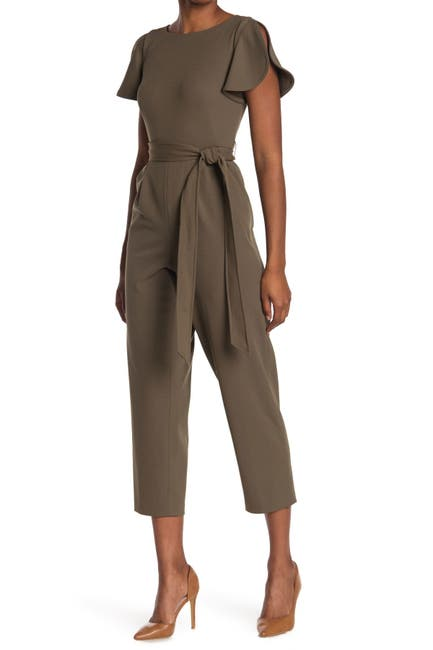 Image of Calvin Klein Short Sleeve Cropped Tulip Jumpsuit