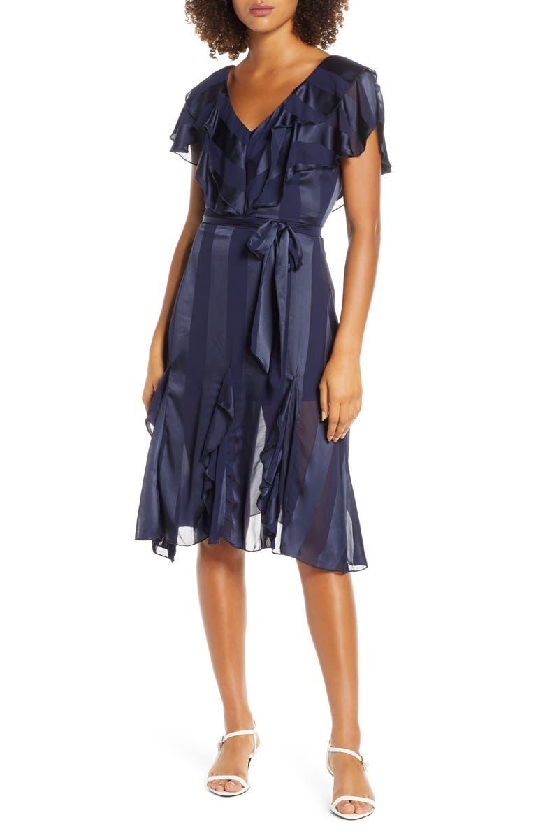 ELIZABETH CROSBY Tonal Stripe Ruffle Cocktail Dress, Main, color, NAVY BURNOUT