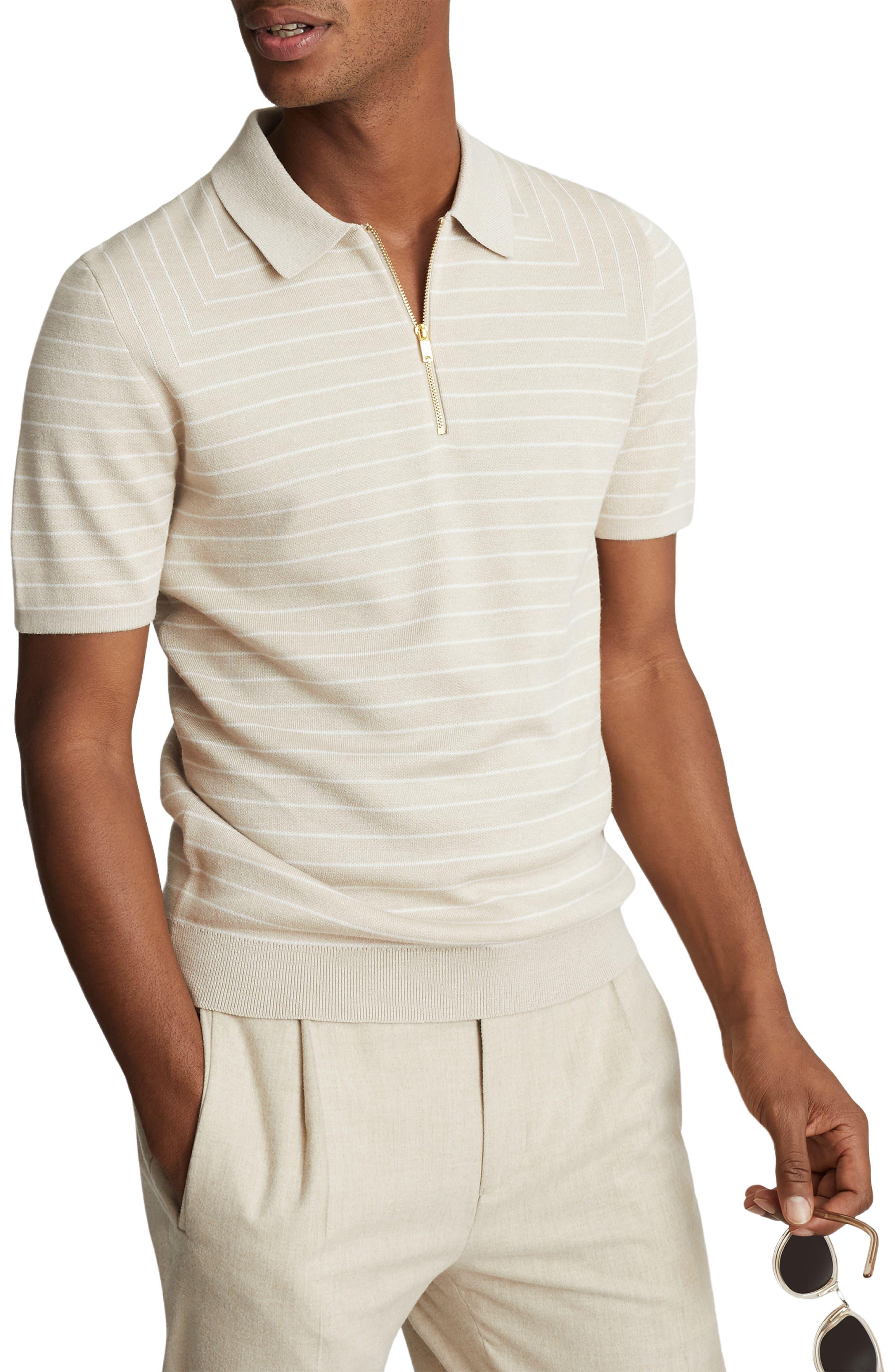 Mens Vintage Shirts – Casual, Dress, T-shirts, Polos Mens Reiss Verona Zip Neck Polo Size X-Large - Beige $80.00 AT vintagedancer.com