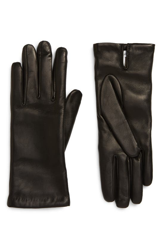 Max Mara Wool Lined Leather Gloves In Black