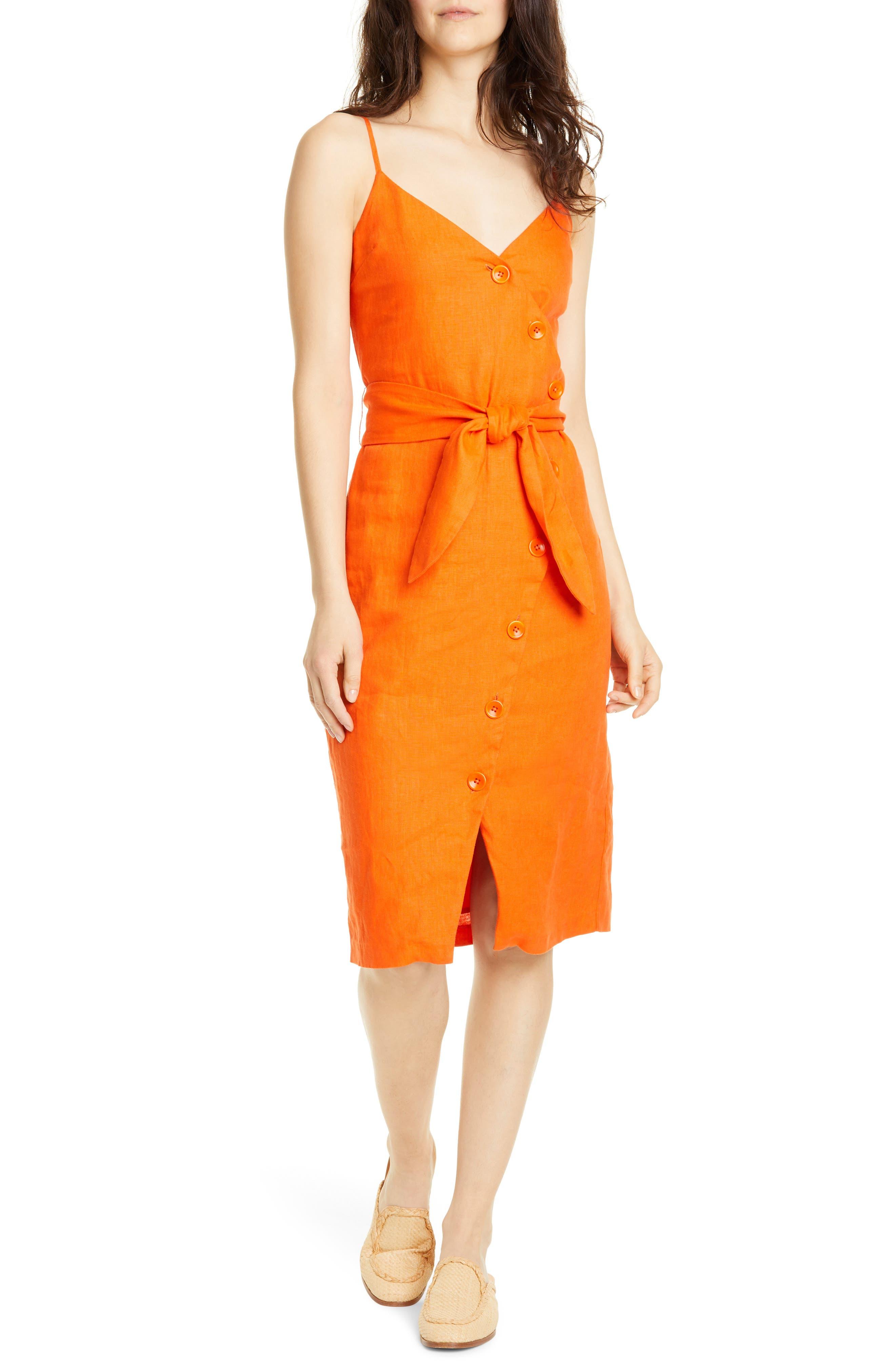 Joie Carnell Linen Sheath Dress, Orange