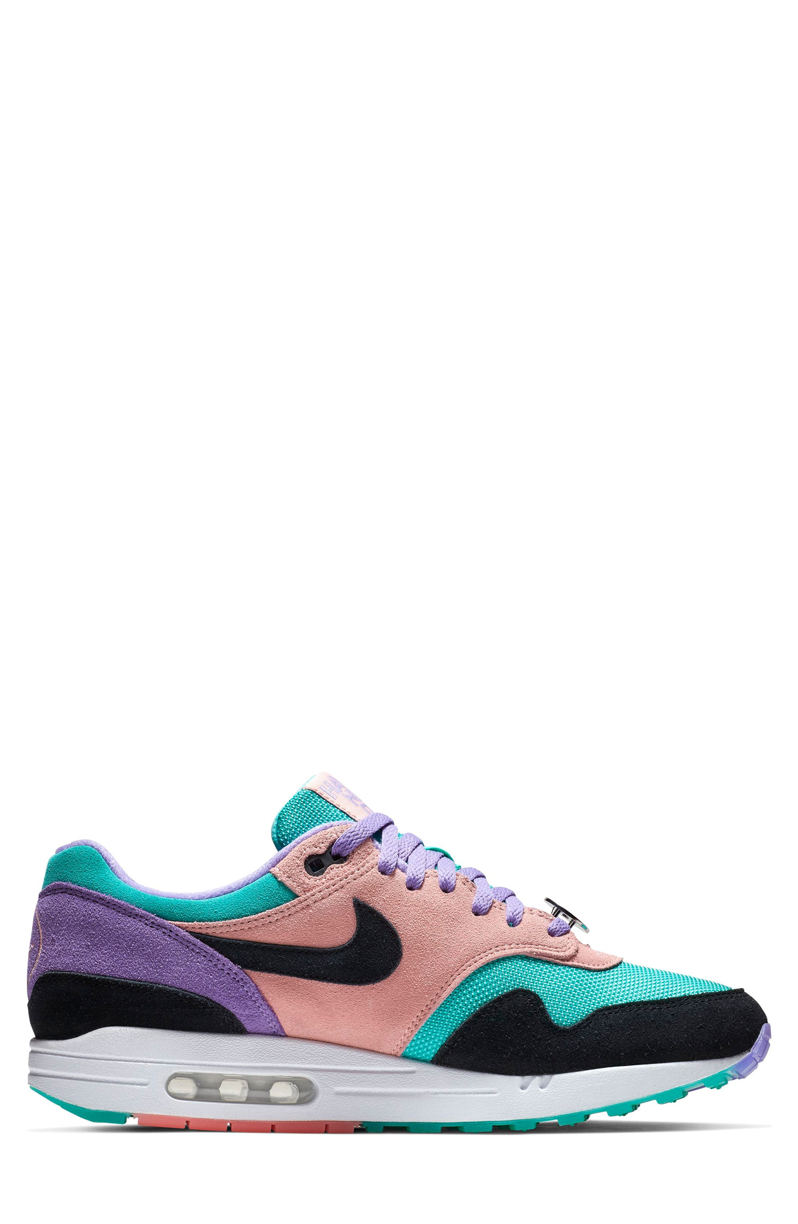 ,                             Air Max 1 Have a Nike Day Sneaker,                             Alternate thumbnail 7, color,                             SPACE PURPLE/ BLACK/ CORAL