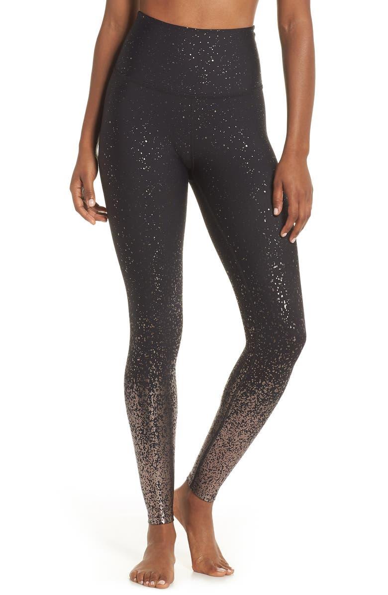 BEYOND YOGA Ombré High Waist Leggings, Main, color, BLACK GUNMETAL SPECKLE