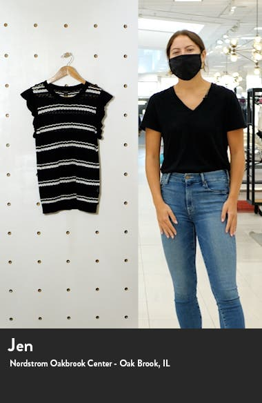 Stripe Flutter Sleeve Pointelle Pullover, sales video thumbnail