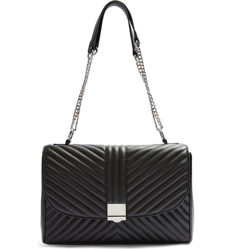 TOPSHOP Sofia Quilted Faux Leather Shoulder Bag, Main, color, BLACK