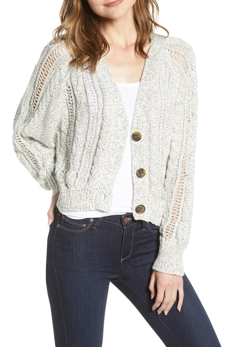 CUPCAKES AND CASHMERE Venice Cable Knit Cardigan, Main, color, OATMEAL