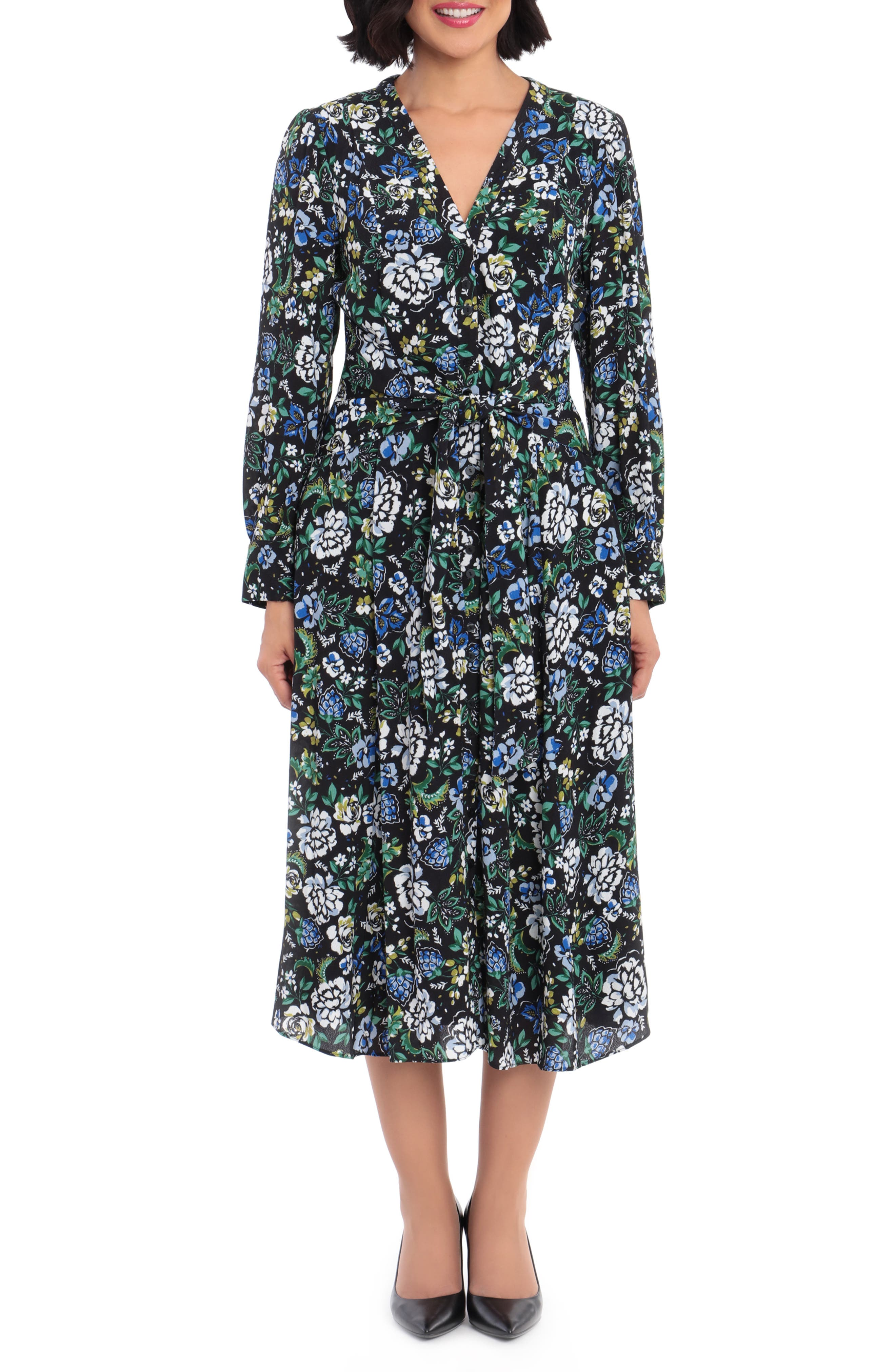 1980s Clothing, Fashion | 80s Style Clothes Womens Maggy London Floral Long Sleeve Midi Shirtdress Size 14 - Black $158.00 AT vintagedancer.com