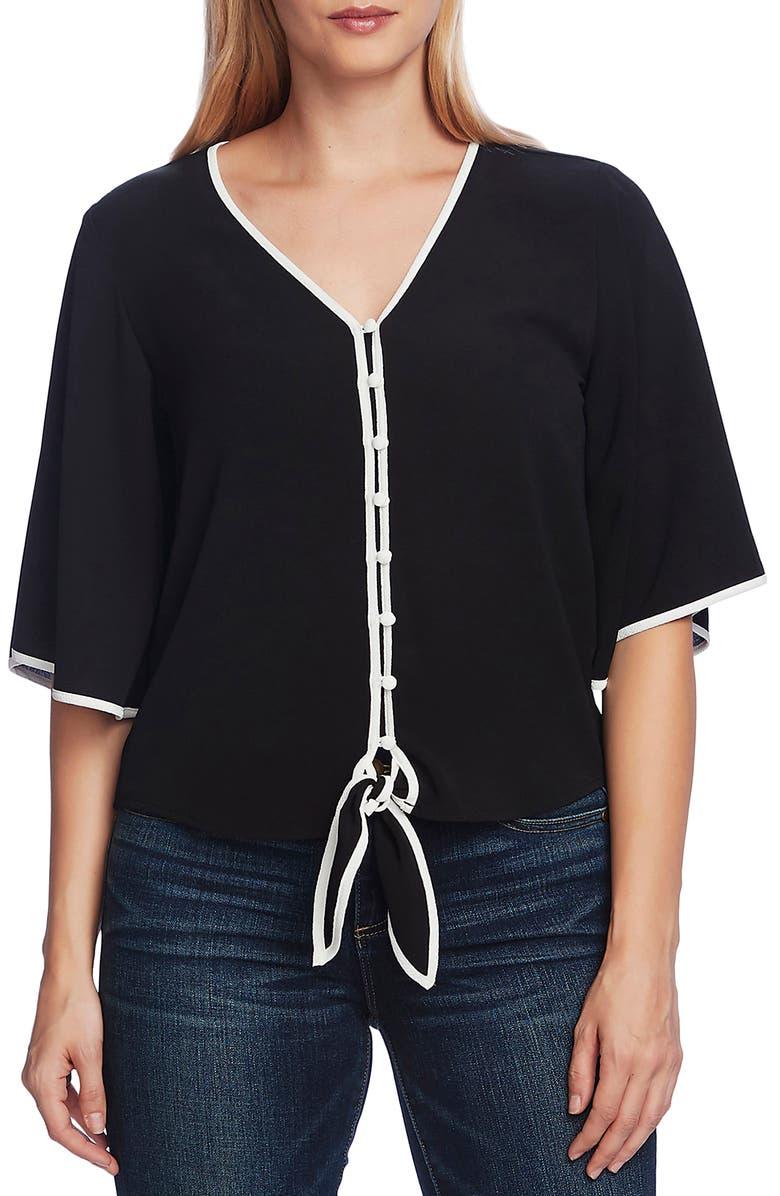 VINCE CAMUTO Contrast Trim Tie Front Blouse, Main, color, RICH BLACK
