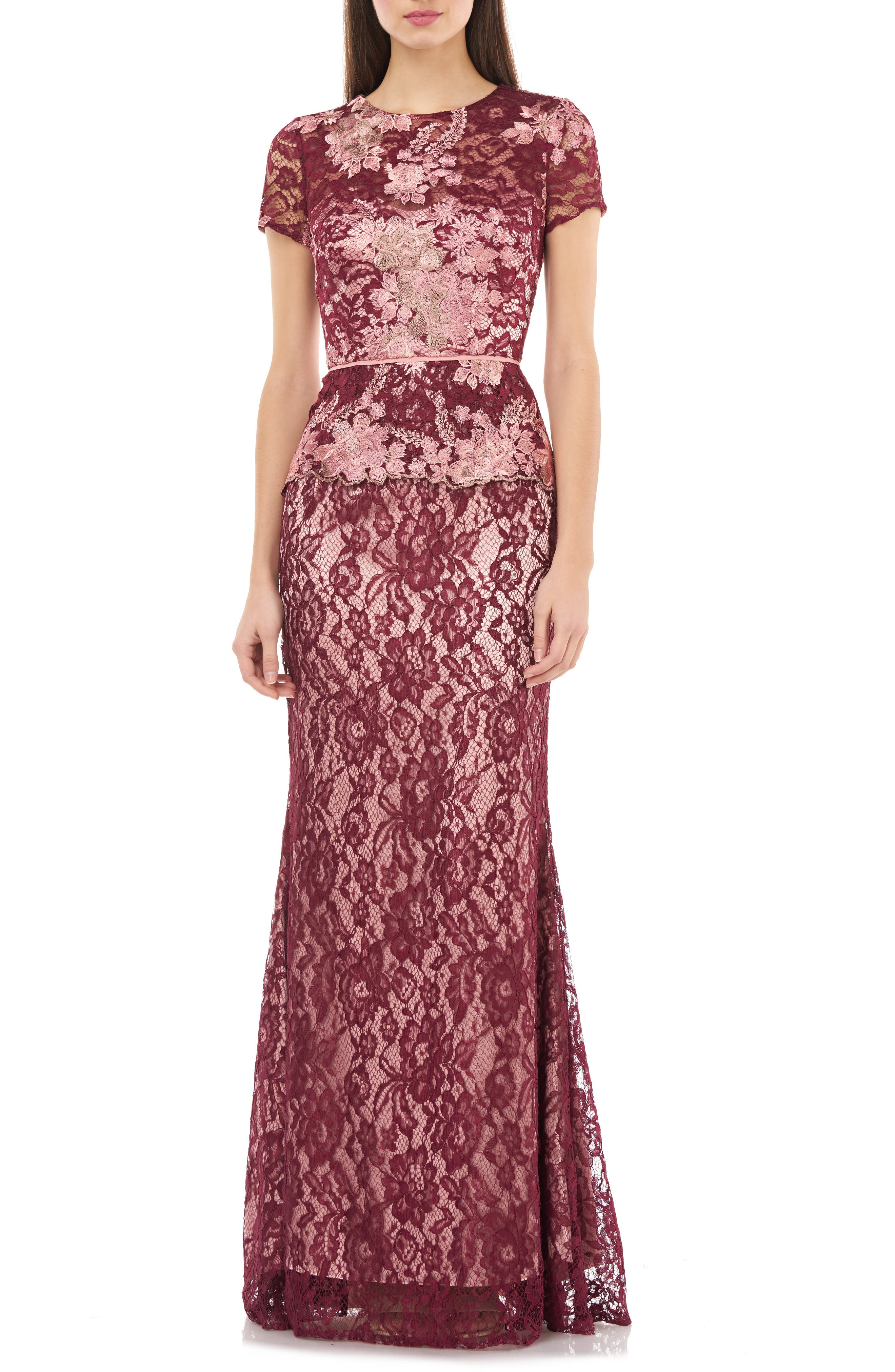 Js Collections Lace Gown, Burgundy