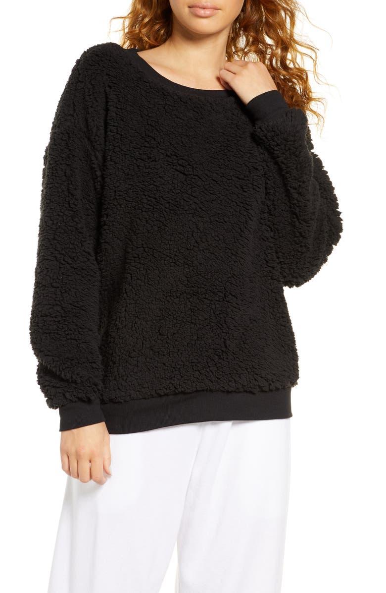 SOCIALITE High Pile Fleece Sweatshirt, Main, color, BLACK