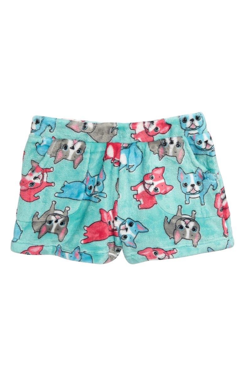 CANDY PINK French Bulldog Fleece Pajama Shorts, Main, color, AQUA