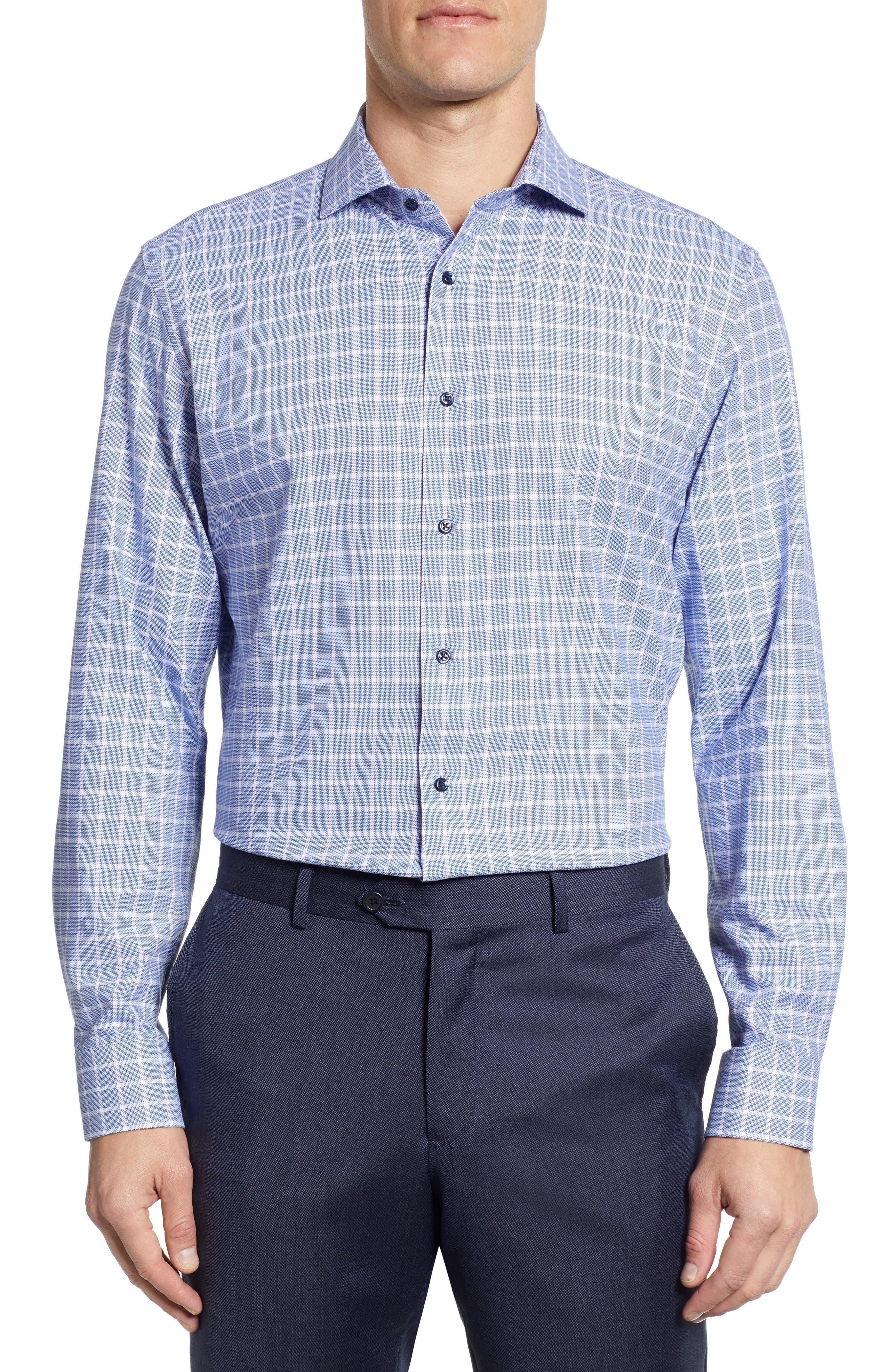 Tech-Smart Trim Fit Stretch Plaid Dress Shirt, Main, color, 410