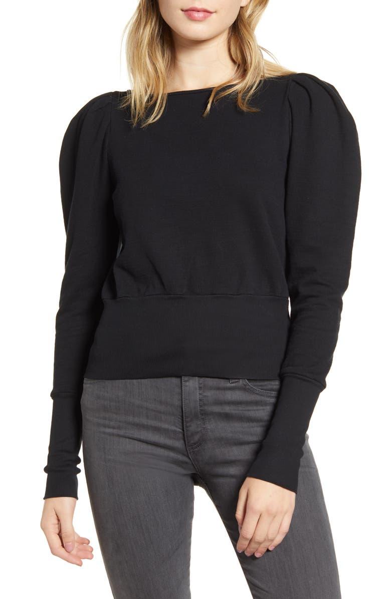 AG Walker Puff Shoulder Sweatshirt, Main, color, TRUE BLACK