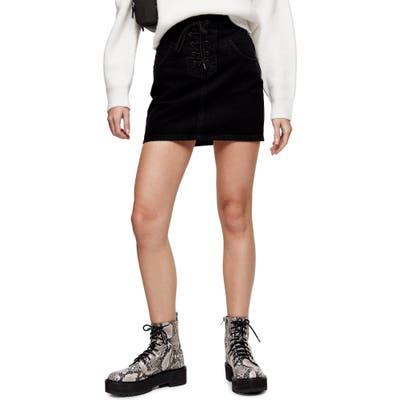 Topshop Lace-Up Denim Miniskirt, US (fits like 0) - Black